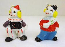 Vintage Set of 2 Ceramic Clown Hanging Ornaments