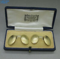 VINTAGE LUXURY CASED PAIR HARRODS SOLID 18K GOLD GENTLEMANS CUFFLINKS 12g c1935