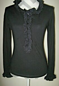 Anne Fontaine black stretch pima cotton ruffle long sleeve top 42