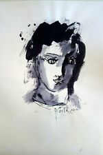 RUTH SCHLOSS Israeli Modernist Portrait Oil Painting of Young Woman Signed Art