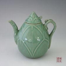 Théière Asiatique Céladon Vert Décoration Zen Bambou Cérémonie du Thé