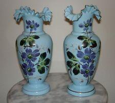 European Opaque Blue Victorian Art Glass Enameled Vases