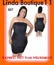 B87 Womens Black Size 16 Strapless Day Evening Party Plus Pencil Stretch Dress