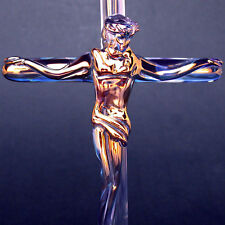 Crucifix Jesus Cross Figurine Blown Glass Crystal Gold