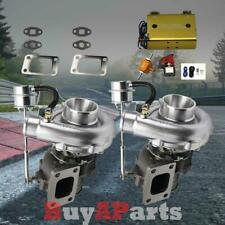 V-band T04E T3/T4 .63AR Twin Turbo Chargers + Dual Stage Boost Controller Gold