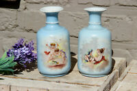 PAIR antique French pastel blue putti angels romantic scene miniature vases