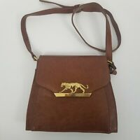 Vintage Jaguar Cougar Gold Metal Crossbody bag Satchel Purse Handbag Tan