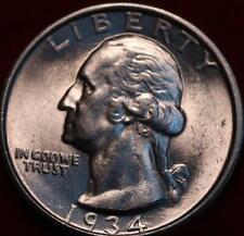 Uncirculated 1934-D Denver Mint Silver Washington Quarter Medium Motto