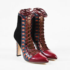 """Paula Cademartori NIB $1940 Red Leather Suede Lace Up """"Warrior"""" Boots SZ 39"""