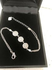 """Fine Jewelry sterling silver Braclet With 3 Circle Love Pave Zirconia Stones 7"""""""