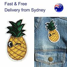 Winking Pineapple Iron on patch - tropical fruit iron-on heat transfer patches