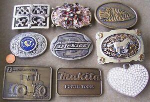 9 vintage BELT BUCKLES: DICKIES, SIOUX FALLS STOCKYARDS, MAKITA, INTERSTATE BANK