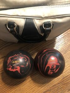 VINTAGE EBONITE TORNADO DUCKPIN BOWLING 2 BALL SET BLACK WITH RED