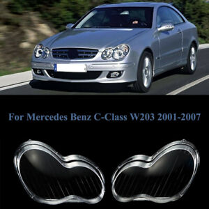 2PC For Mercedes Benz C-Class W203 2001-2007 02 06 Headlights Lens Covers Lamps