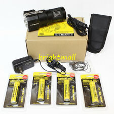 NEW NITECORE TM26 4000 Lumen LED W/4*3400 mah Batteries & Car charger