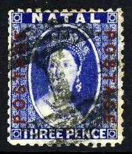NATAL SOUTH AFRICA QV 1872 3d. Bright Blue Ovpt POSTAGE Crown CC P.12½ SG 61 VFU