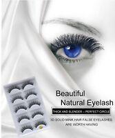 💙3D Real Mink Handmade False Eyelashes 5 Pairs Natural EyeLashes Makeup Fluffy