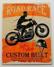 Retro Orange Endurance Motorcycle Road Race Metal Advert Plaque/Sign 25x20cm