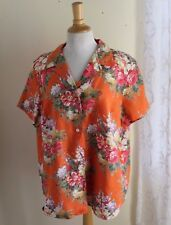 Ralph Lauren -Sz 1X Original Country Floral Orange Linen Camp Shirt Art-to-Wear