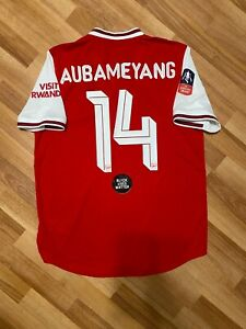 2019 2020 Arsenal Match Player Issue Home Red Jersey FA CUP AUBAMEYANG