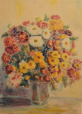 1963 Impressionist still life with flowers watercolor painting signed