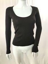 Women's Yves Saint Laurent Rive Gauche Shirt Long  Sleeve Brown  L Wool