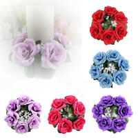 GI- Artificial Flower Floral Candle Ring Holder Wedding Tabletop Centerpiece Tre