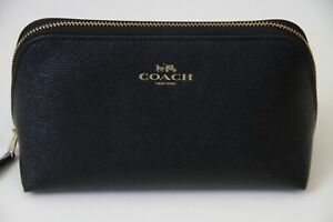 Coach Crossgrain Leather Cosmetic Case 17 Style # F57857, IM / Black