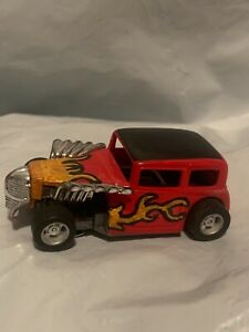 Tyco Hot Rod Ford sedan custom Ho scale slot car runs great red with flames