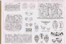 Amphorae-Corinth-Arch of Titus-Pompeii  Roman Coins & Pottery PRANG 1879 Print