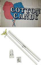 3x5 Advertising Cotton Candy Pink Blue Flag White Pole Kit Set 3'x5'