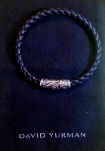 """DAVID YURMAN Men's 8mm Black Rubber woven Bracelet Size 8"""" long Retail $395"""