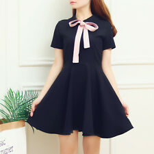 New Lolita Preppy Style Sweet Japan Kawaii Gradient Short Sleeve Bow Short Dress