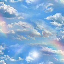Elizabeth's Studio Landscape Medley 460E BLUE Sky with Rainbow BTY Cotton Fabric