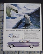 1957 HARRISON AIR CONDITIONING CAR POLAR BEAR CAR AUTO MOTOR VINTAGE AD  CV23