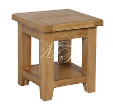 Shrewsbury Solid Chunky Wood Rustic Oak Side Lamp Table Unit With Shelf