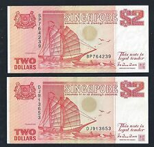 Banknote -Singapore 1990 $2 x 2pcs by HTT Orange Ship Series Currency Money(#91)