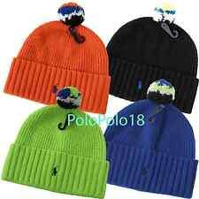 New Polo Ralph Lauren Pony 100% Shetland Wool POM POM Ski Beanie Hat