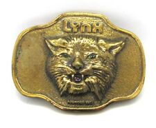LYNX Founded 1971 Solid Heavy Brass Belt Buckle Vintage Compliments of Carl Ross