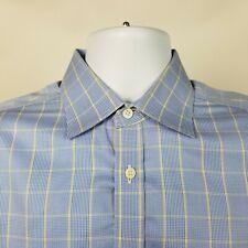 Charles Tyrwhitt Non Iron Slim Fit Mens Blue Yellow Plaid Dress Shirt 15.5 / 39