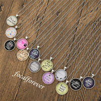 Vintage Inspiration Words Cabochon Necklace Silver Chain Pandant Fashion Gift