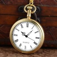 Vintage Golden Quartz Pocket Watch Open Face Roman Antique Necklace Pendant Gift