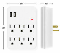 6 Outlet Surge Protector With 2 USB Charger Ports Wall Adapter Tap