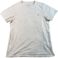 FARAH Mens T Shirt Small Light Grey Embroidered Logo Tee