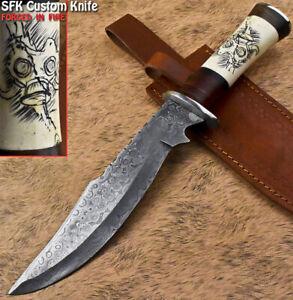 SFK Rare Handmade Damascus Camel Bone Trailing Hunting Bowie Knife Scrimshaw
