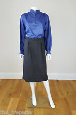 *YVES SAINT LAURENT* VINTAGE RIVE GAUCHE GREY A LINE SKIRT (44)