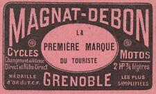 Y8193 Bici & Moto MAGNAT-DEBON - Grenoble - Pubblicità d'epoca - 1912 Old advert