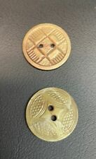 """Set of 2 Vintage Golden Celluloid Embossed Pattern 2 Hole Buttons 7/8"""""""