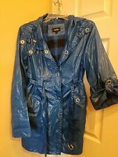 DARLING Ladies Royal Blue Rain Coat Jacket, sz L, rue21, Silver Snaps!