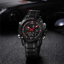 Military Sports Men's LED Dual-display Multi-function Stainless Steel Watch #65u